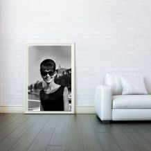 Audrey Hepburn Dark Glasses - Decorative Arts, Prints & Posters,Wall Art Print, Poster Any Size - Black and White Poster